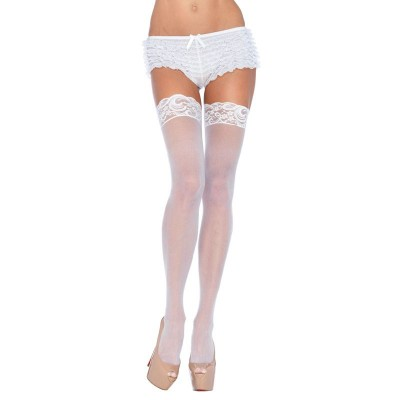 Leg Avenue Plus Size Sheer Thigh Highs White