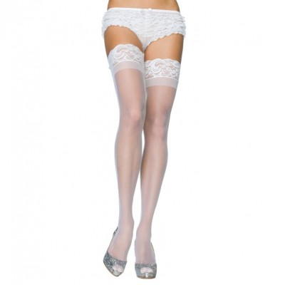 Leg Avenue Stay Up Sheer Thigh Hold Ups White