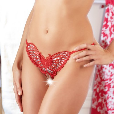 Sequined RED Butterfly GString Crotchless