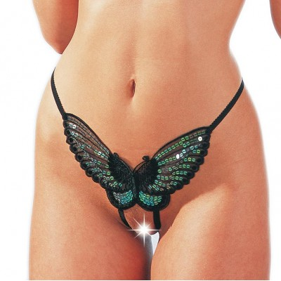 Sequined BLACK Butterfly GString Crotchless