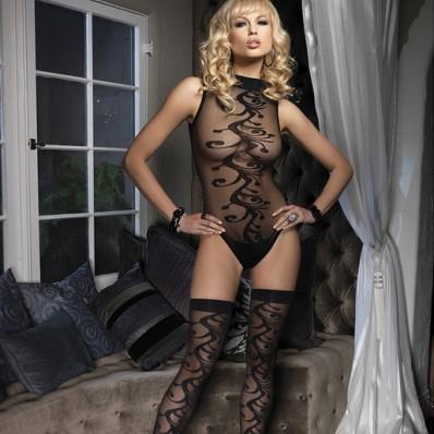 Leg Avenue 2 Piece Jacquard Body with Stockings