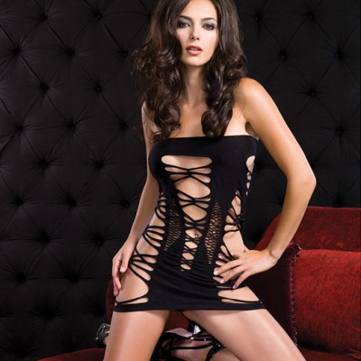 Leg Avenue Strapped Spandex Tube Dress Black