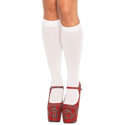Leg Avenue Nylon Knee Highs White