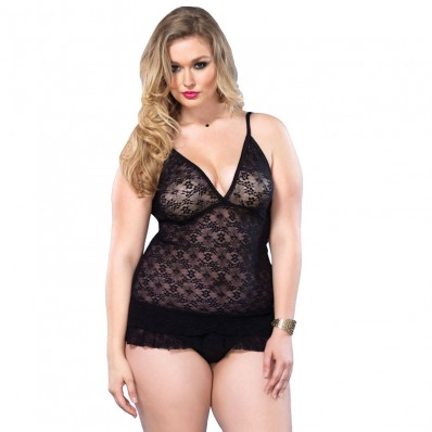 Leg Avenue Lace DeepV Halter Teddy UK 1618