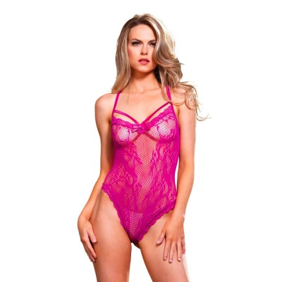 Leg Avenue Strappy Thong Teddy Cerise UK 8 to 14