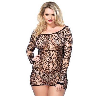Leg Avenue Web Net Mini Dress Black UK 1618