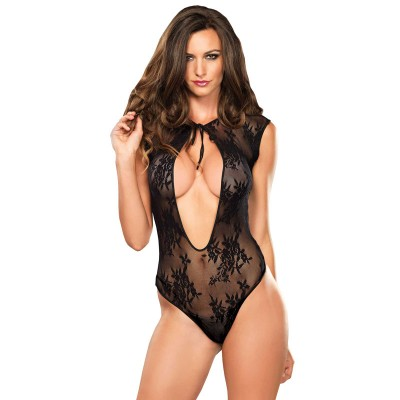 Leg Avenue Stretch Lace GString Teddy UK 812