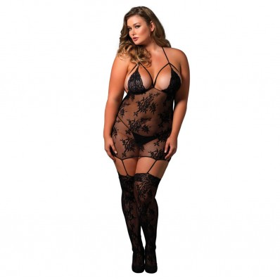 Leg Avenue Strappy Suspender Bodystocking UK 16 to 18