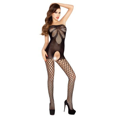 Passion Open Crotch Strapless Body Stocking Black