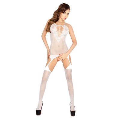 Passion Thin Strap Open Crotch Body Stocking White