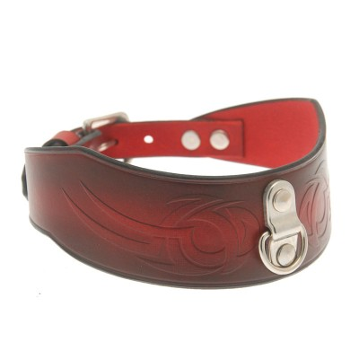House Of Eros Dark Red Tribal Collar with D Ring
