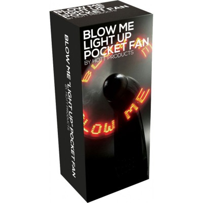 Blow Me Light Up Pocket Fan Black