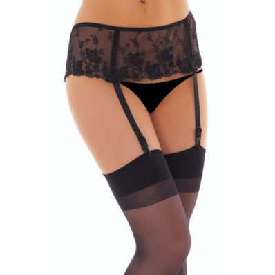 Black Floral Suspenderbelt and Stockings