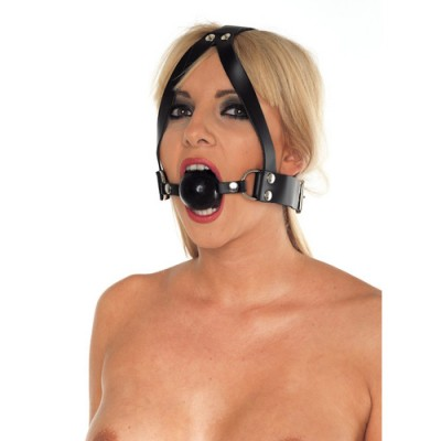Leather Ball Gag and Head Harness